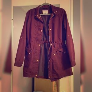 Burgundy utility jacket with rose gold detail